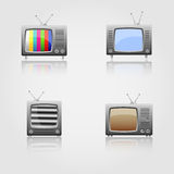 Retro TV icons set Stock Image