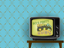 Retro tv. Illustration of Retro TV - 80s Party on TV - With Luxury Vintage Wallpaper in Background royalty free illustration