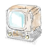 Retro TV illustration in watercolor style Royalty Free Stock Images