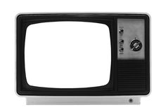 Retro TV - Isolated with Clipping Paths. File contains two clipping paths. One for the outline and one for the screen itself Royalty Free Stock Photography
