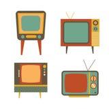 Retro tv items set on white background Royalty Free Stock Images
