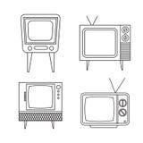 Retro tv items set on white background Royalty Free Stock Image