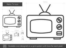 Retro TV line icon. Stock Image