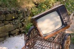 Retro  TV on a Meadow Stock Photo