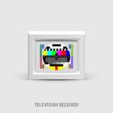 Retro tv med färgskärmen på white vektor illustrationer