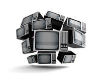Retro TV med statisk elektricitet. Arkivbild