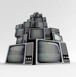Retro TV med statisk elektricitet. Arkivbilder