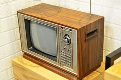 Retro tv med träfallet Royaltyfri Foto