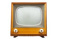 Retro tv med träfallet Royaltyfria Bilder