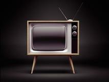 Retro TV met het Knippen van Weg Stock Foto's