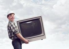 Retro TV monitor Mieszani środki Mieszani środki Obrazy Royalty Free