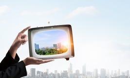 Retro TV monitor Mieszani środki Mieszani środki Obraz Stock