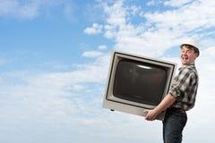 Retro TV monitor Mieszani środki Mieszani środki Obraz Royalty Free