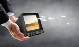 Retro TV monitor Mieszani środki Mieszani środki Zdjęcia Stock