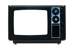 Retro TV nera isolata con i percorsi di residuo della potatura meccanica Fotografia Stock