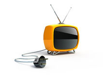 Retro TV with plug Stock Photos
