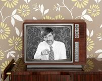 Retro tv presenter mustache man wood television. Wallpaper Stock Images