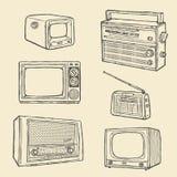 Retro TV and Radio. Set Royalty Free Stock Images