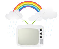 Retro tv and rainbow Royalty Free Stock Images