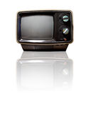 Retro TV with Reflection. Old retro TV isolated on white with reflection - clipping path Stock Image