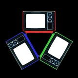 Retro TV RGB Triangle Isolated on Black Stock Images