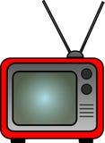Retro TV rossa Immagini Stock Libere da Diritti