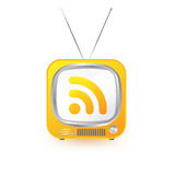 Retro tv with rss. Symbol vector illustration