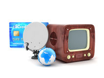 Retro TV, satellite and credit card Stock Photo