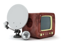Retro tv, satellite dish and earth globe Royalty Free Stock Image