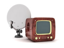 Retro tv and satellite on white background Stock Images