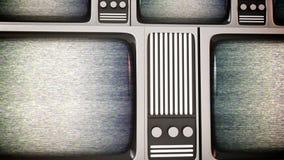 Retro TV-schermen met statisch Stock Foto's