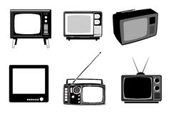 Retro Tv Set. Black retro tv icons set on white background Royalty Free Stock Photos