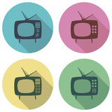 vector retro tv set flat icons Royalty Free Stock Photography