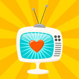 Retro TV Set. With a funky curvy screen and stand. EPS10 with transparency vector illustration