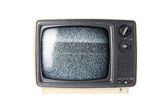 Retro TV set with static Royalty Free Stock Photo