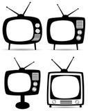 Retro tv sets. Illustration of four retro tv sets Stock Photo