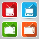 Retro TV sets flat icons Royalty Free Stock Photos