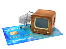 Retro tv, shopping cart and credit card Stock Images