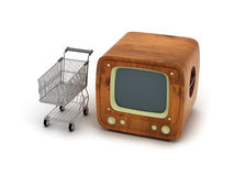 Retro TV and shopping cart Stock Photography