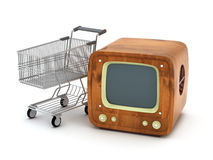 Retro tv and shopping cart Royalty Free Stock Images