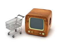 Retro TV and shopping cart Stock Photos