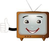 Retro TV showing thumb up Stock Photos