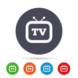 Retro TV sign icon. Television set symbol. Stock Image