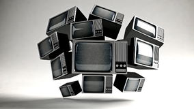 Retro TV with static. Retro TV in front with static stock video footage