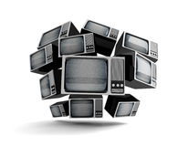 Retro TV with static. Retro TV in front with static  on white background Stock Photography