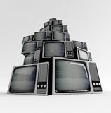 Retro TV with static. Retro TV in front with static on white background Stock Images