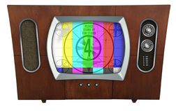 Retro TV Television In Mid-Century Modern Wood Cabinet. Vintage TV Mid-Century Modern Cabinet 1960`s Color Tube royalty free illustration