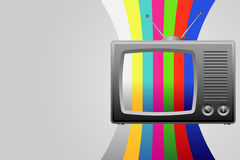 Retro TV with test image background Royalty Free Stock Photo