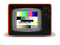 Retro TV test screen frontal. Very high resolution 3D render of an old vintage TV of the seventies with test screen and orange plastic shell Stock Images