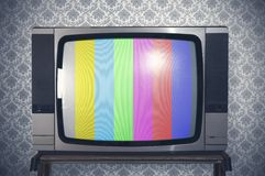 Retro tv. Test signal display on a retro tv Royalty Free Stock Images